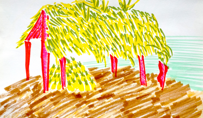 a painting of a Palapa by the ocean with a pile of pineapples under the shade of the hut
