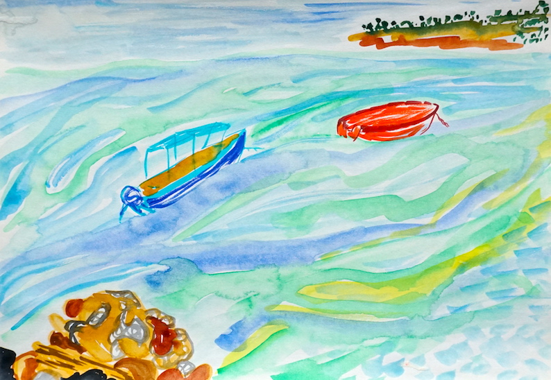 a small blue boat and a small red boat drift in green and blue waters between two land masses